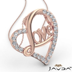 Love Script Heart Pendant Necklace Round Diamond 14k Rose Gold  (0.45Ct. tw.)