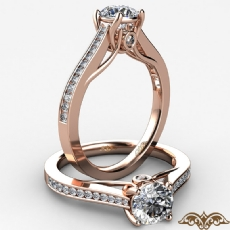 Channel Trellis Bezel Accent Round diamond  Ring in 18k Rose Gold
