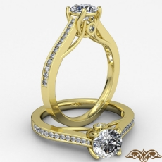 Channel Trellis Bezel Accent diamond Ring 14k Gold Yellow