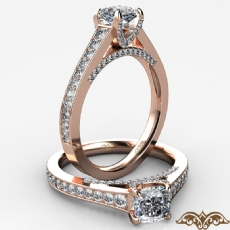 Bridge Accent Petite Pave Set Cushion diamond  Ring in 18k Rose Gold