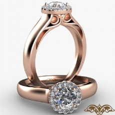 Wide Band Cathedral Halo Round diamond  Ring in 18k Rose Gold