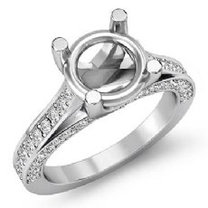 0.76Ct. Diamond Engagement Women Pave Set Ring Round Semi Mount 14K White Gold