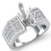 1.54Ct Princess Invisible Diamond Engagement Women Ring 14k White Gold Semi Mount - javda.com