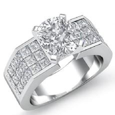 Sidestone Invisible Set Shank Cushion diamond engagement Ring in 14k Gold White