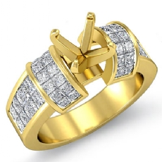 Diamond Engagement Women Ring 18k Gold Yellow Princess Invisible Semi Mount (1.96Ct. tw.)