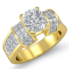 Classic Sidestone Invisible Cushion diamond engagement Ring in 14k Gold Yellow
