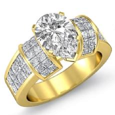 Invisible Set 4 Prong Peg Head diamond Ring 14k Gold Yellow