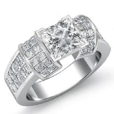 Invisible Set 4 Prong Peg Head diamond Ring 14k Gold White