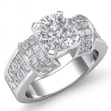 Classic Sidestone Invisible Cushion diamond engagement Ring in Platinum 950