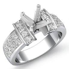 1.03Ct Princess Diamond Invisible Setting Engagement Women's Ring 14K White Gold