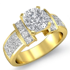 Classic Side-Stone Invisible Cushion diamond engagement Ring in 14k Gold Yellow