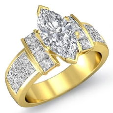 Classic Side-Stone Invisible Marquise diamond engagement Ring in 14k Gold Yellow