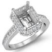 Diamond Engagement Ring Radiant Semi Mount Platinum 950 Halo Pave Setting 0.35Ct - javda.com