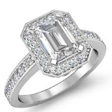 Vintage Filigree Halo Pave Emerald diamond engagement Ring in 14k Gold White