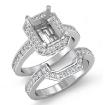 1.1Ct Diamond Radiant Cut Semi Mount Engagement Ring Bridal SetPlatinum 950 - javda.com