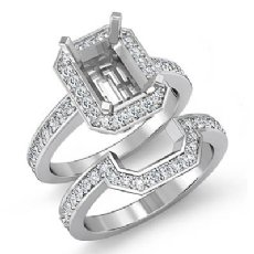 1.1 CT Diamond Radiant Cut Semi Mount Engagement Ring Bridal Set 14K White Gold