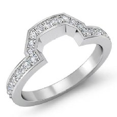 Women Matching Band Platinum 950 Round Diamond Half Wedding Ring 2.5mm  (0.35Ct. tw.)