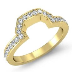 Women Matching Band 18k Gold Yellow Round Diamond Half Wedding Ring 2.5mm  (0.35Ct. tw.)