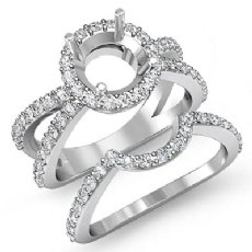 1.1Ct Split Shank Diamond Engagement Ring Bridal Set 14K White Gold Semi Mount