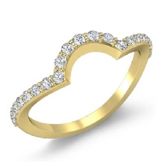Pave Diamond Women's Half Wedding Band 14k Gold Yellow Matching Set Ring  (0.35Ct. tw.)
