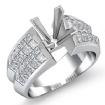 1.72Ct Princess Diamond Women Engagement Ring Invisible 14k White Gold Semi Mount - javda.com