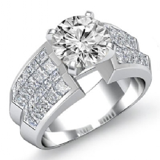 Classic Side Stone Invisible Round diamond engagement Ring in 14k Gold White