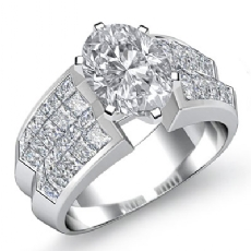 Classic Side Stone Invisible Oval diamond engagement Ring in 14k Gold White