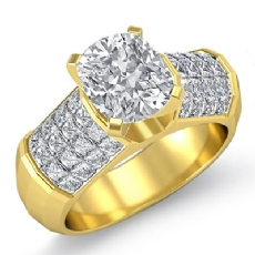 Sidestone Invisible Set Cushion diamond engagement Ring in 14k Gold Yellow