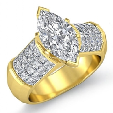 Sidestone Invisible Set Marquise diamond engagement Ring in 14k Gold Yellow