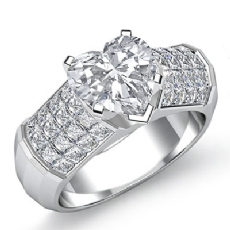 Sidestone Invisible Set Heart diamond engagement Ring in 14k Gold White