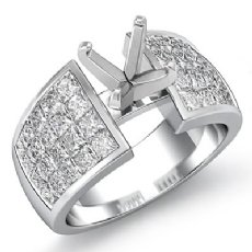 1.74Ct Diamond Engagement Women's Ring Princess Invisible Setting 14K White Gold