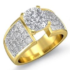 Invisible Classic Sidestone Cushion diamond engagement Ring in 14k Gold Yellow