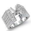 2.62Ct Princess Invisible Diamond Engagement Ring 14k White Gold Semi Mount - javda.com
