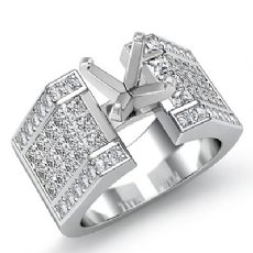 2.62Ct. Princess Invisible Diamond Engagement Ring 14K White Gold Semi Mount