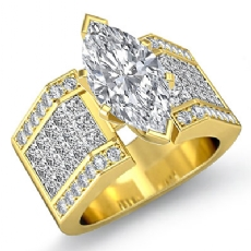 Invisible Setting Shank Marquise diamond engagement Ring in 14k Gold Yellow