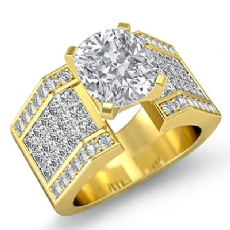Invisible Setting Shank Cushion diamond engagement Ring in 14k Gold Yellow