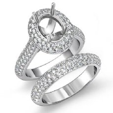 3Ct Oval Diamond Engagement Ring Wedding Bridal Set 14k White Gold Semi Mount