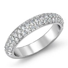 Round Cut Pave Diamond Women's Wedding Engagement Band Ring Platinum 950  (1Ct. tw.)