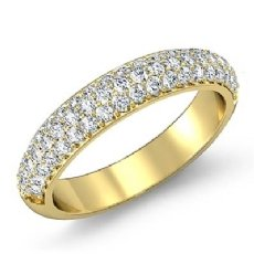 Round Cut Pave Diamond Women's Wedding Engagement Band Ring 14k Gold Yellow  (1Ct. tw.)