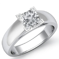 Classic Cathedral Solitaire Princess diamond engagement Ring in 14k Gold White
