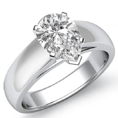 Dome Cathedral Solitaire Pear diamond  Ring in 14k Gold White
