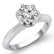 Classic Solitaire 6 Prong Round diamond engagement Ring in 14k Gold White