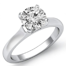 Dome 4 Prong Solitaire Round diamond  Ring in 14k Gold White