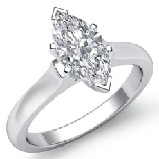 Dome Style Solitaire Marquise diamond engagement Ring in 14k Gold White