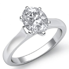 Dome Style Solitaire Oval diamond engagement Ring in 14k Gold White