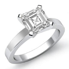 Flat Band 4 Prong Solitaire Asscher diamond  Ring in 14k Gold White