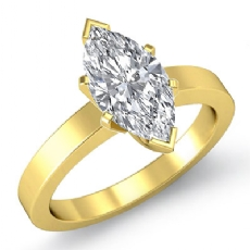 Flat Band 4 Prong Solitaire Marquise diamond  Ring in 18k Gold Yellow
