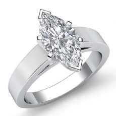 Classic Flat Edge Solitaire Marquise diamond engagement Ring in 14k Gold White