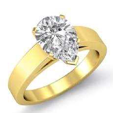 Flat Edge Cathedral Solitaire Pear diamond  Ring in 18k Gold Yellow