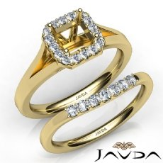 Asscher Diamond U Prong Engagement Semi Mount Ring Bridal Set 14k Gold Yellow  (0.4Ct. tw.)